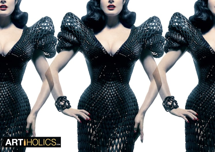 http://www.shapeways.com/blog/archives/1952-Revealing-Dita-Von-Teese-in-a-Fully-Articulated-3D-Printed-Gown.html