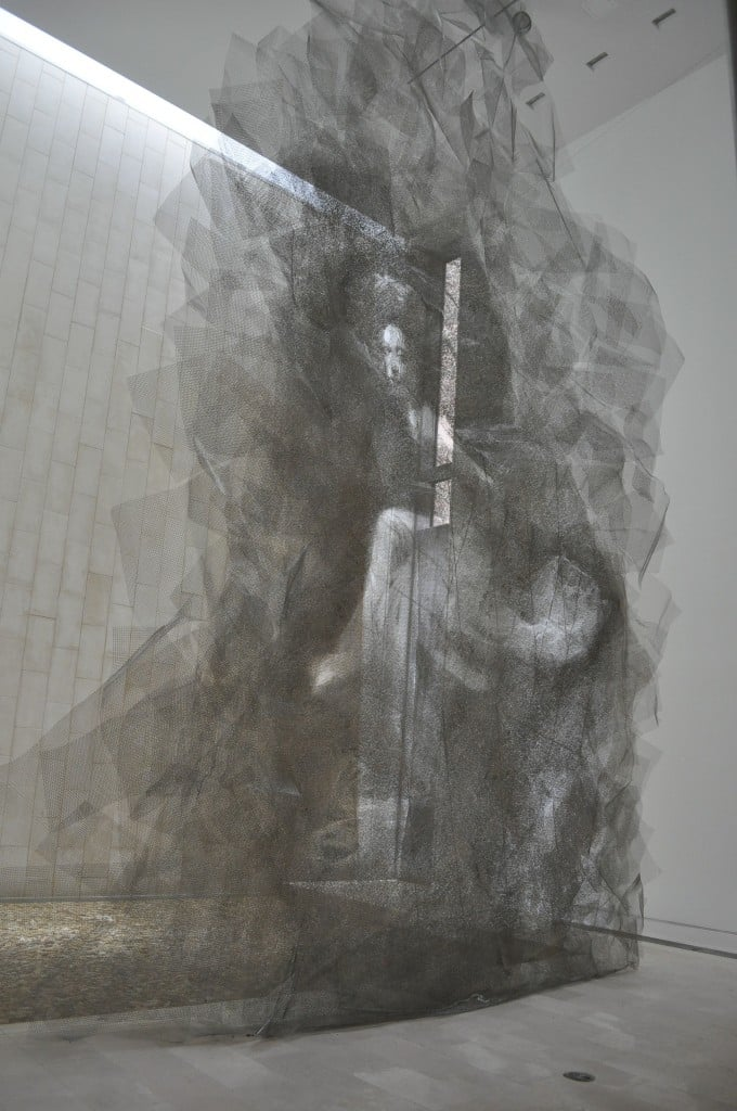 The Waterfall and Seongmo Park's Maya 942, 2014 stainless steel, whire mesh, L155xW18xH276 inches