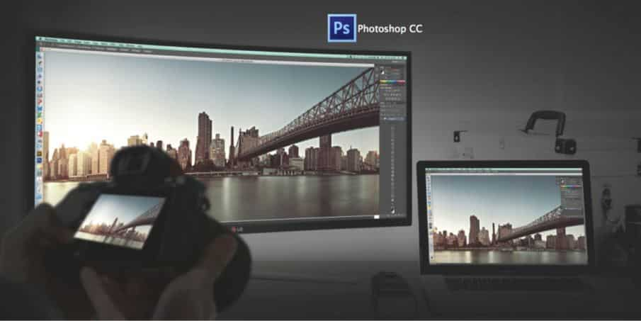Monitor with DSLR and Photoshop Logo LG Wide Curved Monitor Review GlobalTechSpot